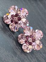 Vintage Nice Pink Purple Super Sparkle Crystal Faceted Button Pierced Earrings