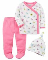 NEW Carter's Girls 3 Piece Layette Set Newborn 3 6 9 Months Butterfly Cap Pants