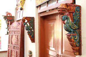 Peacock Corbel Wall Bracket Wooden Bird Sculpture Vintage Style Blue Home Decor