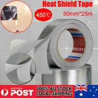 50mmx25m Aluminium Foil Reinforced Heat Shield Tape Self Adhesive Duct Repair