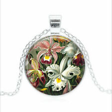 Glass dome Necklace chain Pendant Wholesal Orchids by Ernst Haeckel Tibet silver