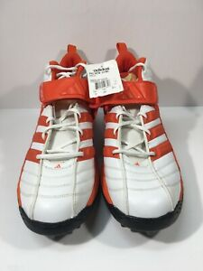 adidas Men's White Orange Pro Intimidate D 3/4 Football Cleats Shoes 15 New