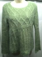 LUCY & LAUREL Women's Sweater M Green Cable Net Angora Rabbit Lambs Wool Blend