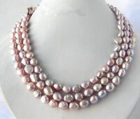 3 Reihen 8-9mm Lavendel Barock Süßwasser Perle Halskette, 17-19 Zoll
