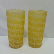 Vintage Tall Yellow Spaghetti String Tumblers Glasses 6 Inches Tall 2 Piece Set