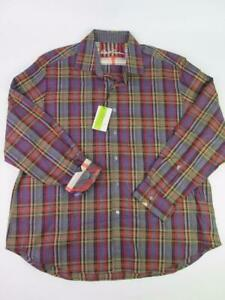 ROBERT GRAHAM RUSTY KNOTTS BROWN/BLUE/RED PLAID SPORT DRESS SHIRT 3XL NWT$268