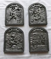 Mid Century Hand Cast Pewter Wall Hangings-4 Seasons Made in Germany