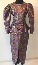 Vintage 1980s Purple Gold Metallic Brocade Puffy Sleeve Peplum Dress size M DS14