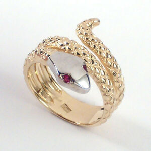 Men's 14k Two-Tone Yellow and white Gold Ruby Serpent Ring Sizes 5 to 14 #R926.