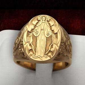 Men Handmade 18K Gold Ring Christian Catholic Jesus Carving Ring Jewelry Size 8