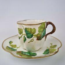 More details for rare antique 19th century coalport quatrefoil cup & saucer raised ivy? leaf