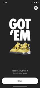 Air Jordan 4 Retro Lightning Tour Yellow TD Size 10C