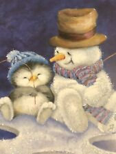 2 Vintage Christmas Cards Penguin & Snowman Fishing Glittered Unused + Envelopes