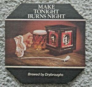 VINTAGE DRYBROUGHS BURNS NIGHT BEER MAT 1970's HOME PUB / BAR / MAN CAVE  J988