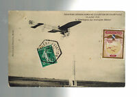 1910 Betheny France Early airmail Postcard cover to paris Local Issue Air Stamp
