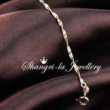18K GOLD GF WAVE CHAIN Ladies BRACELET Anklet fits CHARMS EX757 Jewellery