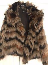 Next faux fur beidge,brown,black jacket size 8