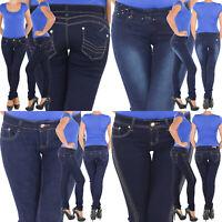 Damen Röhrenjeans Skinny Slim Fit Jeans Stretch Hüft Hose 5 Pocket Röhre Blau