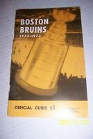 1972 73 BOSTON BRUINS Media Guide Yearbook John BUCYK Bobby ORR Phil ESPOSITO