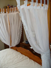 LACE TRIMMED VOILE PANELS FOUR POSTER BED TAB TOP SET,