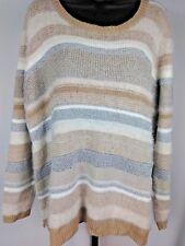 Cato Multi Tan & Silver Sparkle Striped Fuzzy Sweater Women's Plus Size 22/24W