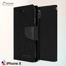 Black Canvas Diary Jeans Wallet Flip Tpu Case Cover For iPhone Xs / iPhone 10 S