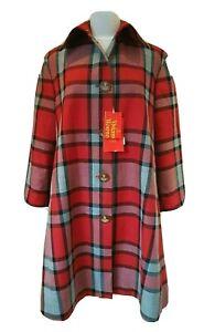 Vivienne Westwood Red Plaid Wool Tartan Check Coat Duster Size 36 UK 10 12 BNWT