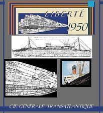 s/s LIBERTE1950 French Line: Complete Ship Retractable Deck Plans / Ext.Profile!