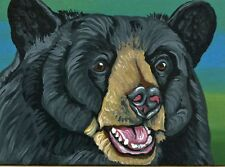 ACEO ATC Original Art Painting Black Bear Wildlife Animal  Art-Carla Smale