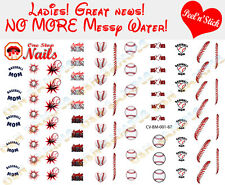 Baseball MOM  Clear Vinyl PEEL and STICK Nail Decals set of 87