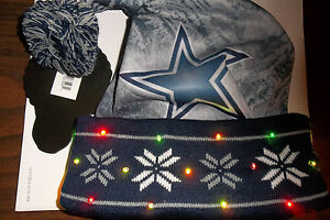 Dallas Cowboys Football LED Light up Winter SANTA HAT Adult Sz Cap tailgate Gift