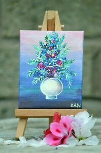 Original Acrylic Miniature on Canvas Painting Easel included White Pot FLOWERS