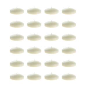 "Mega Candles - Unscented 3"" Floating Disc Candles - Ivory, Set of 24"