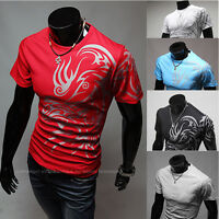 Mens Dragon Printed Slim Fit Short Sleeve T-Shirt Casual Sport Jersey Tee Top