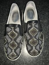 Michael Kors Leo Slip On Embellished Flats Sneakers Leather Black Metallic 8M