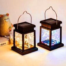 Candle Lantern Light Garden Landscape Hanging Lamp Outdoor Solar Powered LED