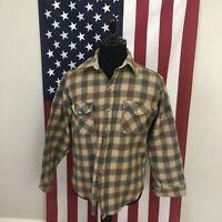 vtg Woolrich Thick Wool Buffalo Plaid Flannel Shirt mens LARGE beige coat 1d720p