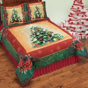 Beautiful Sage Pattern Edge LED Lighted Christmas Tree King Bedroom Comforter