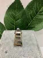Movable Step Ladder Charm, 3D Vintage Estate Pendant, Sterling Silver SS