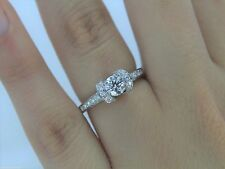 $6,500 Tiffany Platinum .77ct Round Diamond Ribbon Bead Set Engagement Ring Band