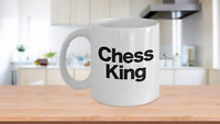 Chess King Mug White Coffee Cup Funny Gift for Gamer Grandmaster Player