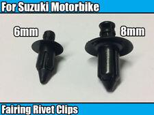 10x 6mm, 8mm Plastic Clips For Suzuki Bike Fairing Panel Fastener Rivet 5 Each
