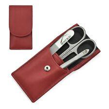 Hans Kniebes Sonnenschein 3-Piece Manicure Set  Nappa Leather Case | Red