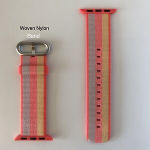 GENUINE Apple Watch Woven Nylon Band Orange/Pink 38mm (also Fits 40mm) ORIGINAL