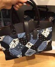 COACH Handbag Mixed Leather Mercer 30 Satchel Womens Shoulder Bag Silver/Stone