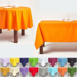 100% Cotton Plain Fabric Tablecloth Square Rectangular Round Dining Table Cover