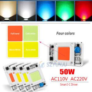 50W 110V 220V LED COB Chip Lamp Floodlight Smart-IC Bulb Bead Warm/Cold White