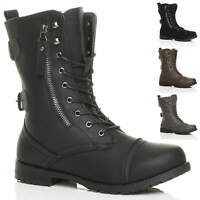 WOMENS LADIES FLAT LOW HEEL LACE UP ZIP COMBAT ARMY MILITARY ANKLE BOOTS SIZE