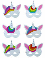 6 Unicorn Foam Masks Party Bag Fillers Pinata Toy Loot Wedding Kids Fancy Dress