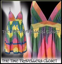 KATE MOSS TOPSHOP VINTAGE 60s 70s MULTI COLOUR TIE DIE DRESS BOHO FESTIVAL UK 8